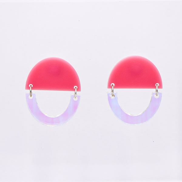 Some Kind of Wonderful Earrings - Iridescent & Bubble Gum Pink