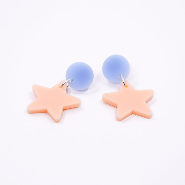 Dangly Star Earrings - Periwinkle & Peach