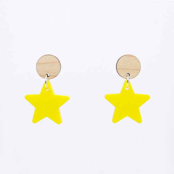 Dangly Star Earrings - Maple & Bright Yellow