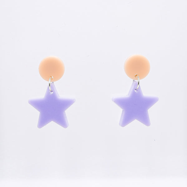 Dangly Star Earrings - Peach & Lavender