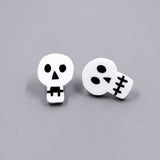 Doodle Skull Earrings - White