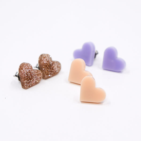 Tiny Heart Stud Earrings - Loads of Colors