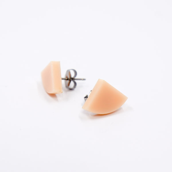 Tiny Quarter Circle Stud Earrings - Peach