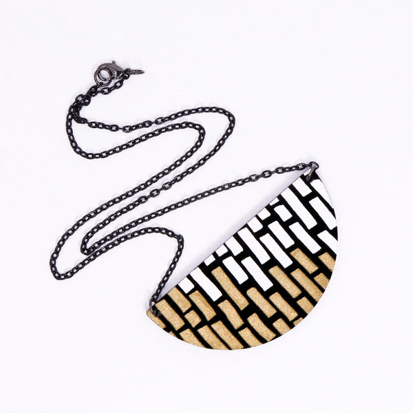 Half Circle Doodle Necklace - White & Gold Stacks