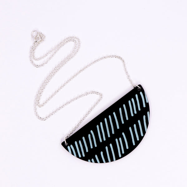Half Circle Doodle Necklace - Blue Diagonal Lines