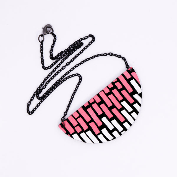 Half Circle Doodle Necklace - Neon Pink & White Stacks