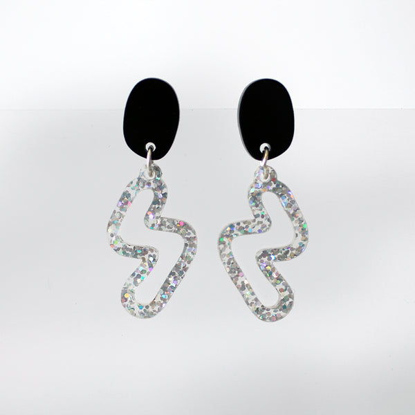 Pure 80's Squiggle Earrings - Black & Holo