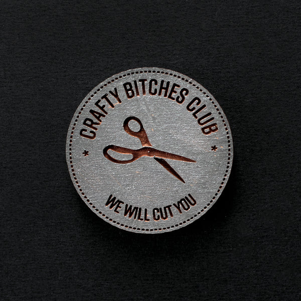Painted Gunmetal Crafty Bitches Club - Needle Minder or Pin