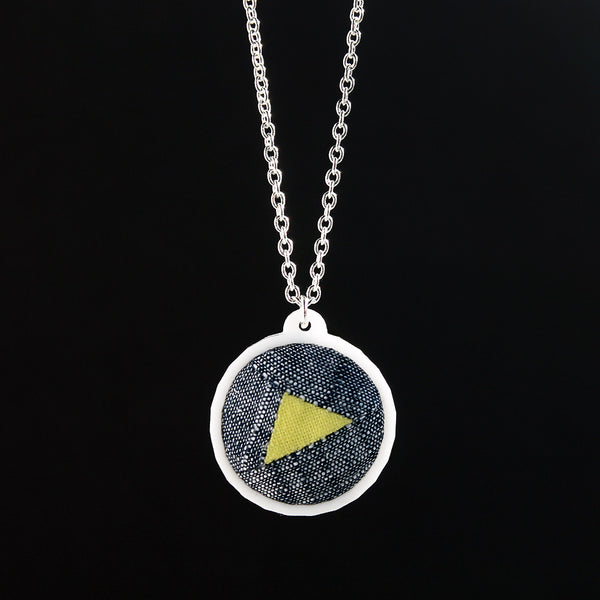 Fabric + Plastic Necklace - Small - Highlighted Triangle