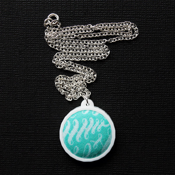 Fabric + Plastic Necklace - Small - Teal and Swirly