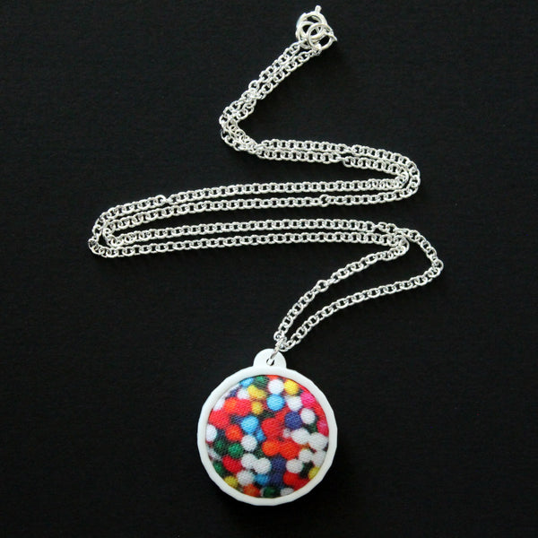 Fabric + Plastic Necklace - Small - Hundreds and Thousands