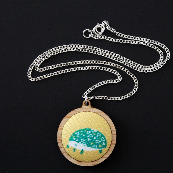 Fabric + Wood Necklace - Medium - Mossy the Hedgehog
