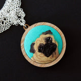 Fabric + Wood Necklace - Medium - Mopey the Pug