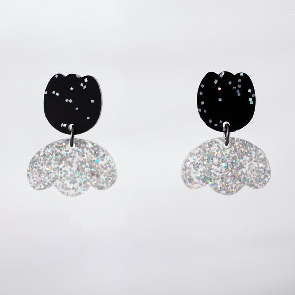 Fancy Tulip Earrings - Black Confetti & Holo