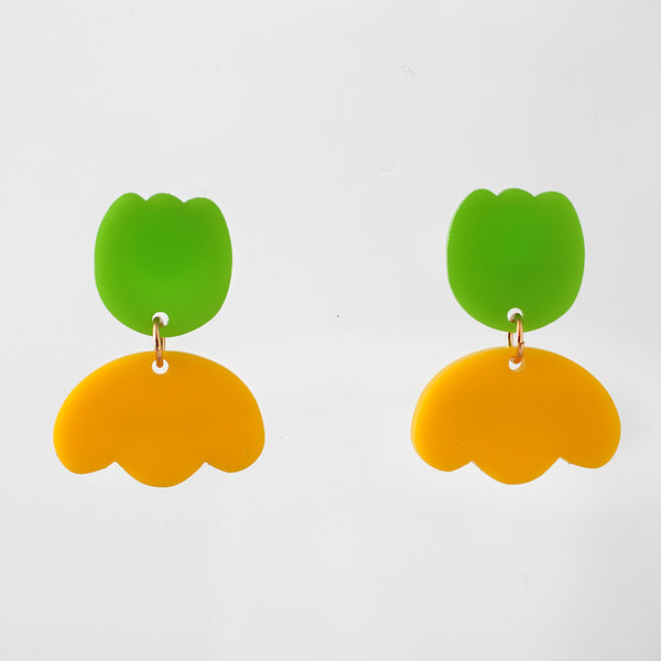 Fancy Tulip Earrings - Lime Green and Yellow