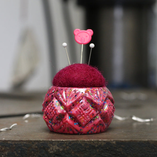 Plastic and Wool Pin Cushion #028