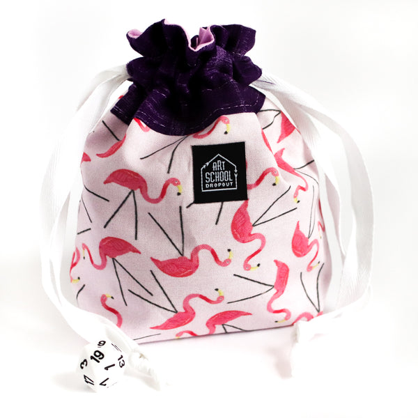 Flamingos Drawstring Style Dice Bag