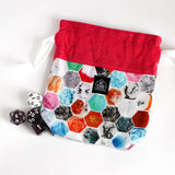 Colorful Marbled Hexagons Drawstring Style Dice Bag