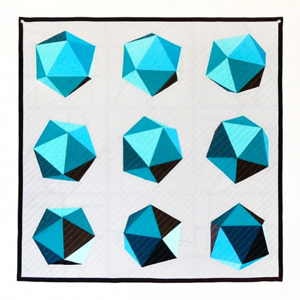 "Spinning Icosahedron Quilt - 8"" Blocks / 24"" Finished - Paper Pieced PATTERN - PDF"