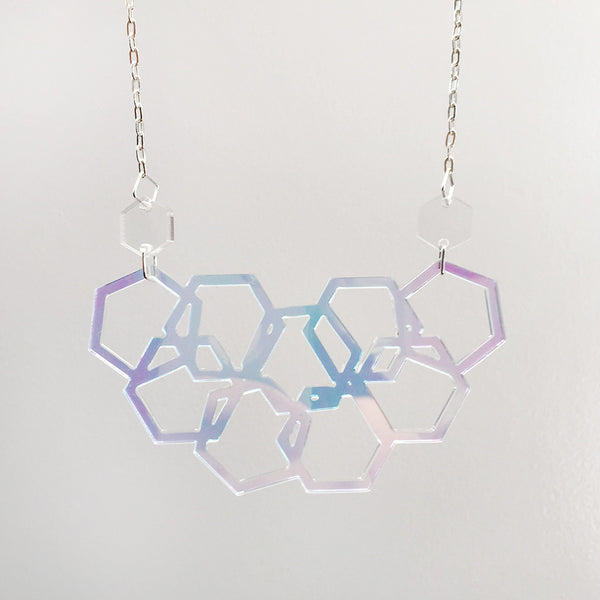 Iridescent Scattered Hexies Necklace
