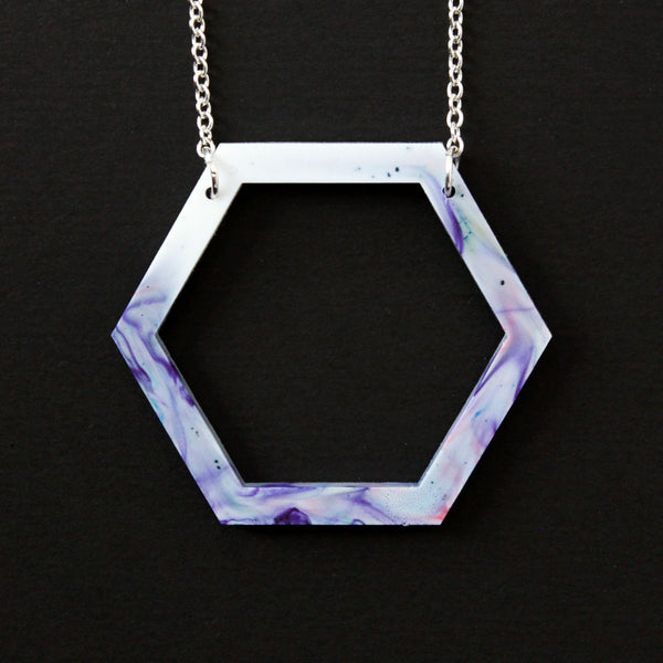 Large Hollow Hexagon Necklace - Marbled Purple, Blue and Pink