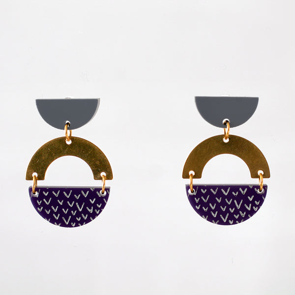 Sunset Earrings - Grey and Deep Purple