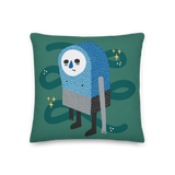 """Sad James"" Pillow in Turquoise"
