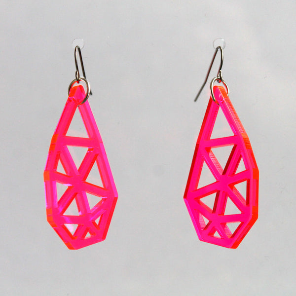 Broken Heart Earrings in Neon Pink