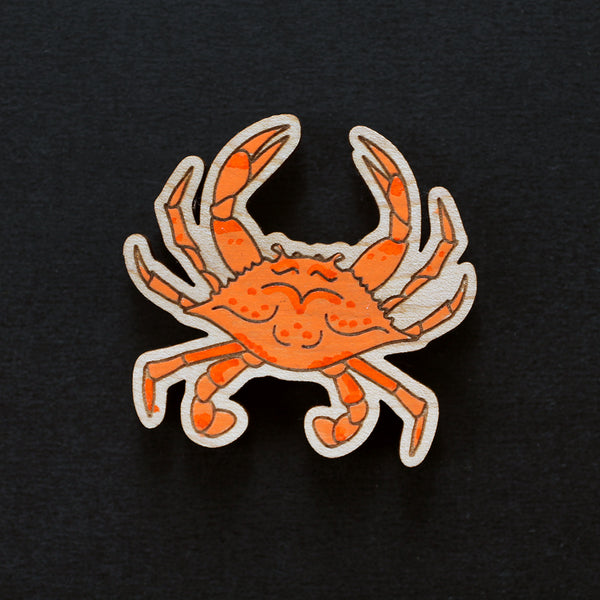 Painted Crab Brooch #001