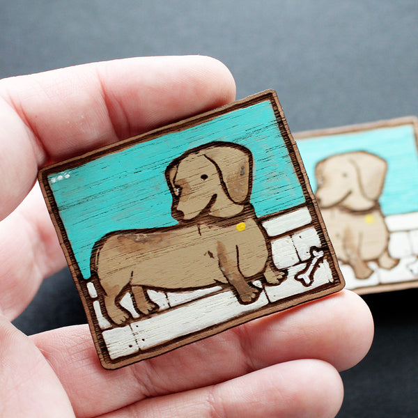 Painted Dachshund Brooch #001
