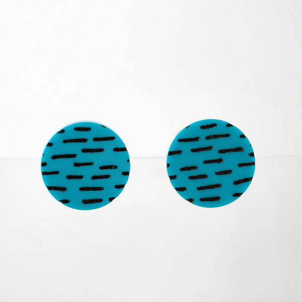 Dashes Stud Earrings - Black on Dark Teal