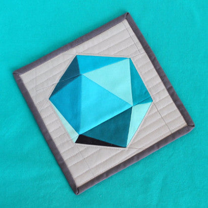"Spinning Icosahedron SINGLE Quilt Block - 8"" and 18"" Version - Paper Pieced PATTERN - PDF"