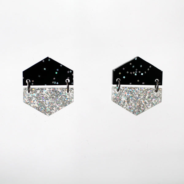 Half & Half Hexagon Earrings - Black Confetti & Holo