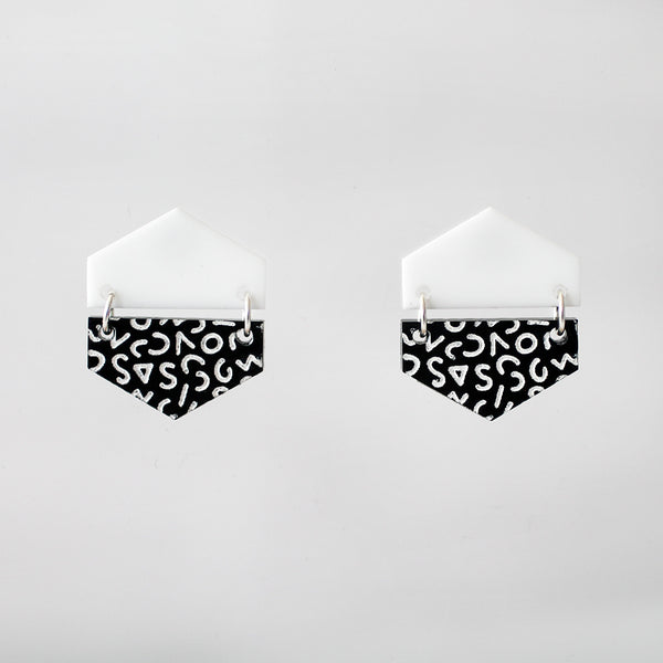 Half & Half Hexagon Earrings - White & Black