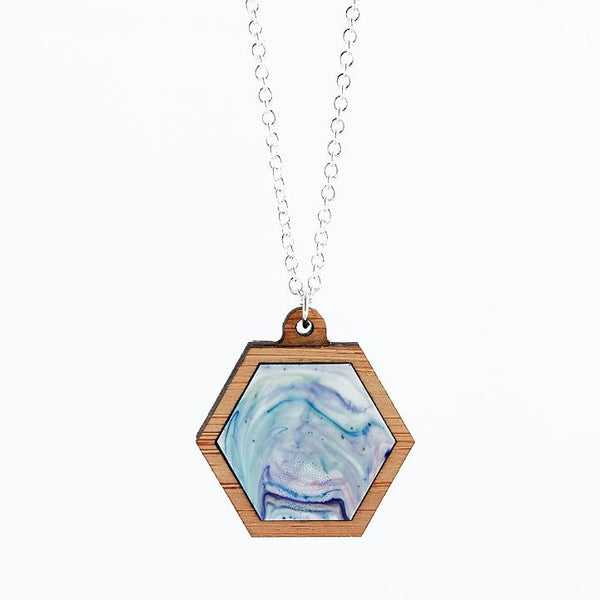 Plastic + Wood Hexagon Necklace #002