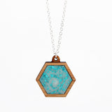 Plastic + Wood Hexagon Necklace #003
