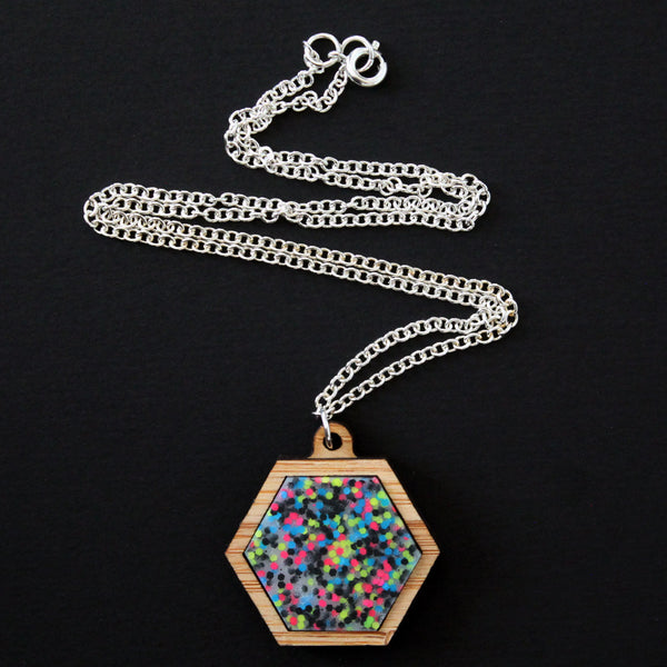 Plastic + Wood Hexagon Necklace #016