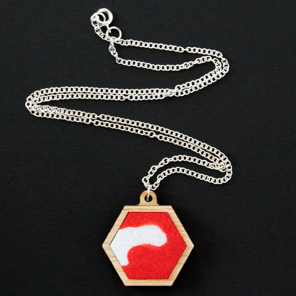 Plastic + Wood Hexagon Necklace #018