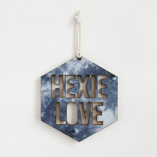 Hexie Love Wall Hanging - Grey Tie Dye