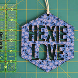 Hexie Love Wall Hanging - Tiny Purple Flowers