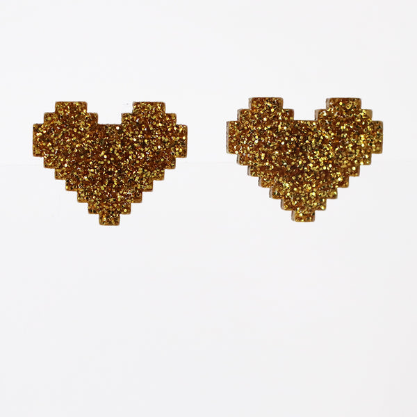 Large Pixel Heart Stud Earrings - Various Colors