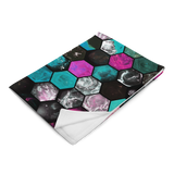 Dark Marbled Hexies Plush Throw Blanket