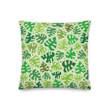 Monstera Doodles Pillow in Greens
