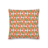 Rainbows in a Row Pillow - Pink