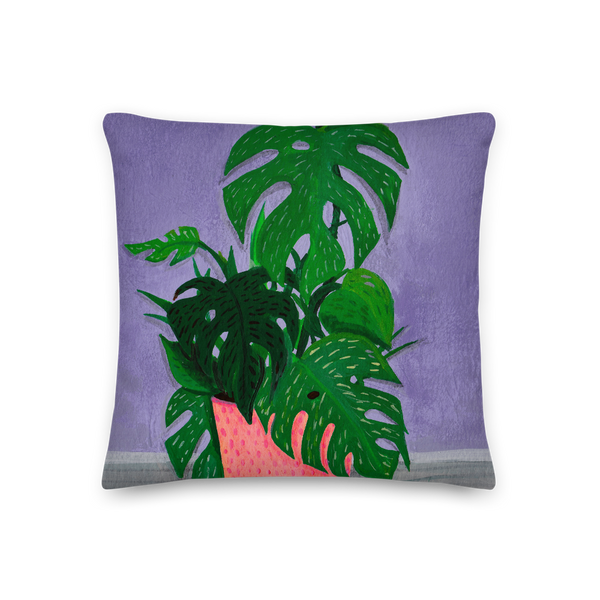 """Monstera Painting Number 1"" Pillow"