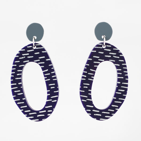 Modern Flintstones Earrings - Gray on Deep Purple