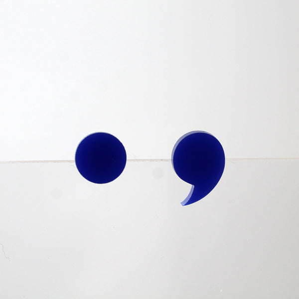 Period & Comma Stud Earrings - Royal Blue