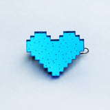 Pixelated Heart Hair Clip - Various Colors