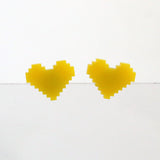 Small Pixel Heart Stud Earrings - Various Colors