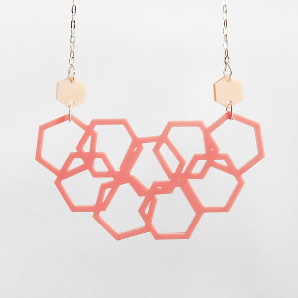 Pretty in Pink Scattered Hexies Necklace